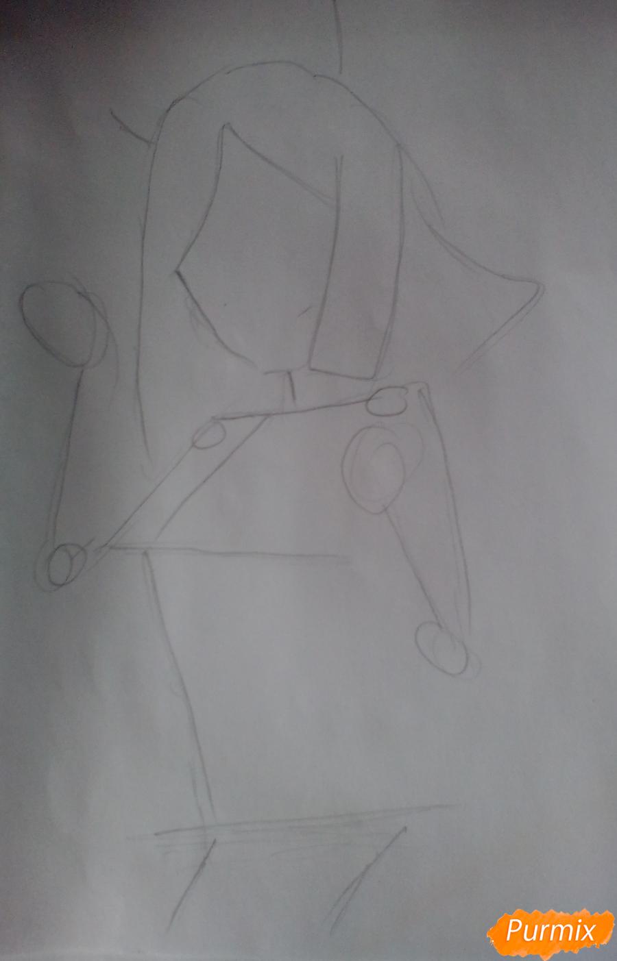 Рисуем Охару Мари из аниме Love Live карандашами - шаг 1
