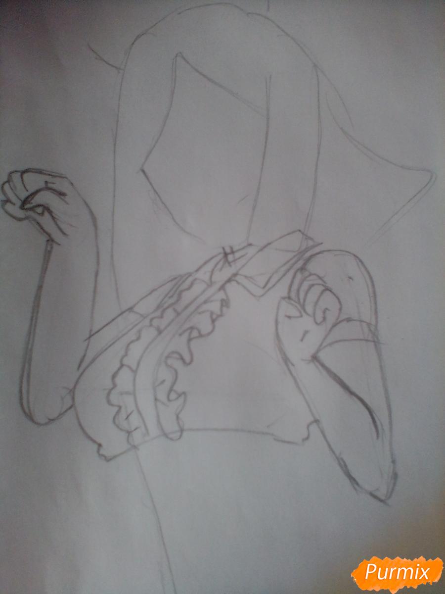 Рисуем Охару Мари из аниме Love Live карандашами - шаг 2