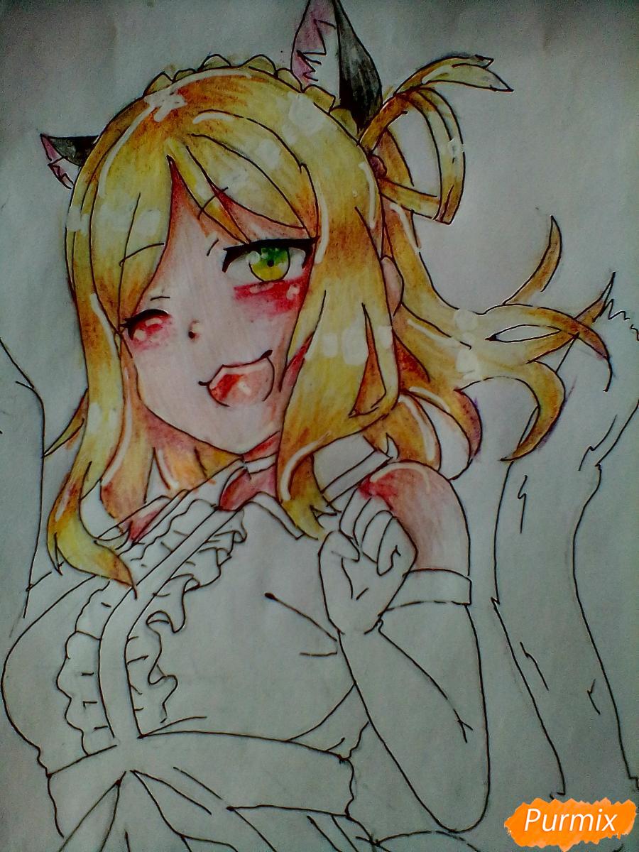 Рисуем Охару Мари из аниме Love Live карандашами - шаг 7