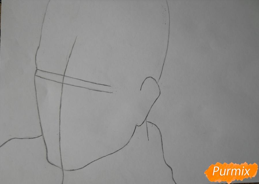 Рисуем портрет Оруо из аниме Атака титанов карандашами - шаг 1