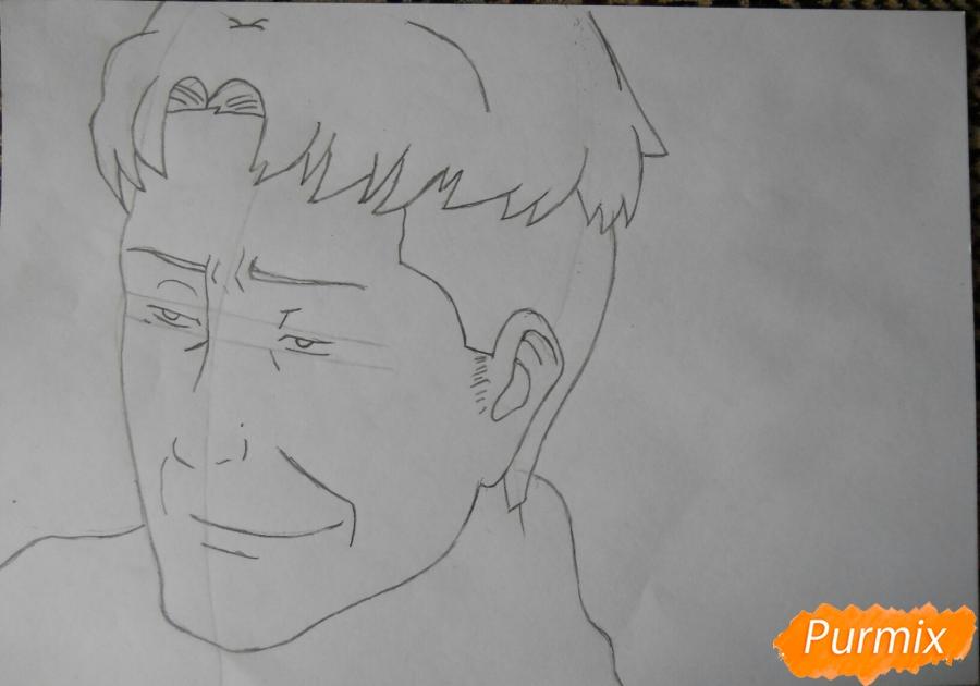Рисуем портрет Оруо из аниме Атака титанов карандашами - шаг 3