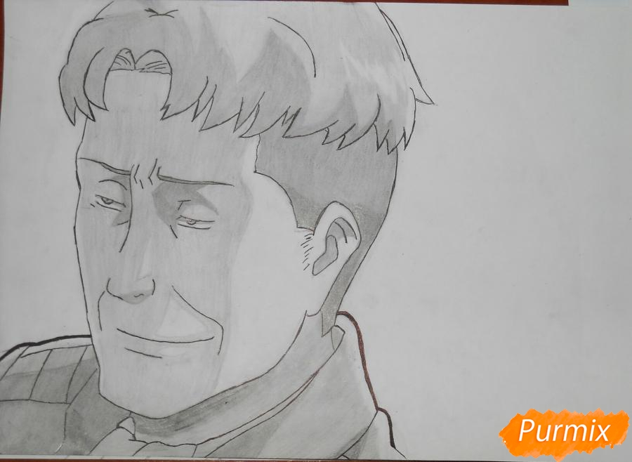 Рисуем портрет Оруо из аниме Атака титанов карандашами - шаг 8