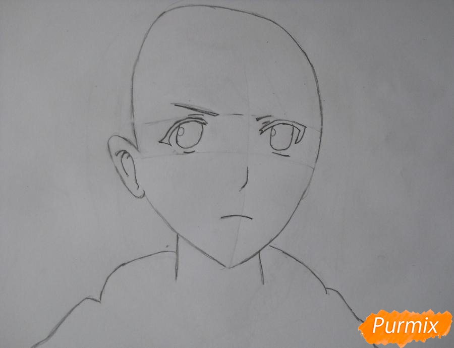 Рисуем портрет Петру из аниме Атака Титанов карандашами - шаг 2
