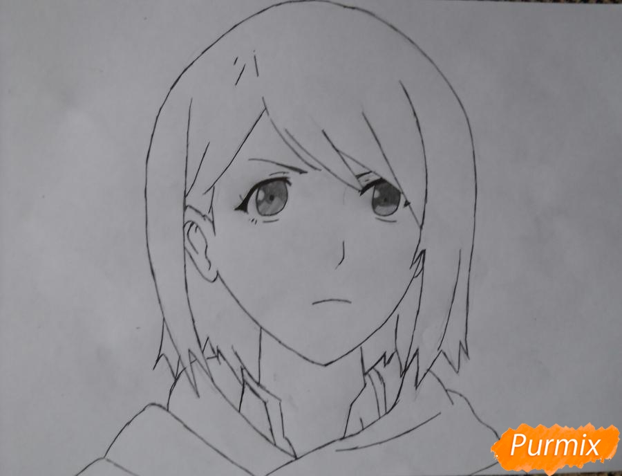Рисуем портрет Петру из аниме Атака Титанов карандашами - шаг 6