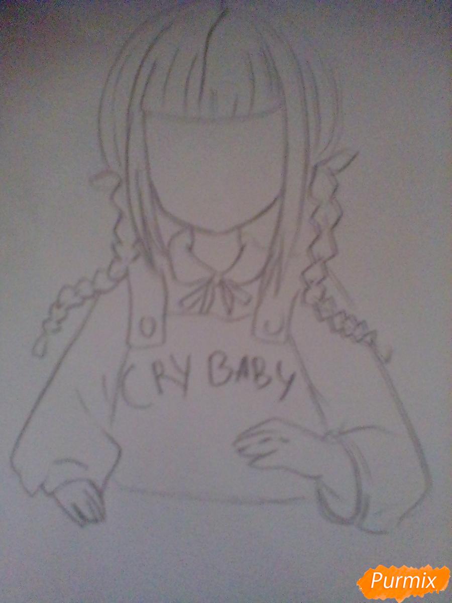 Рисуем певицу Melanie Martinez из клипа Cry Baby в аниме стиле - шаг 2