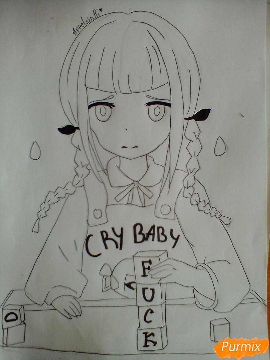 Рисуем певицу Melanie Martinez из клипа Cry Baby в аниме стиле - шаг 4