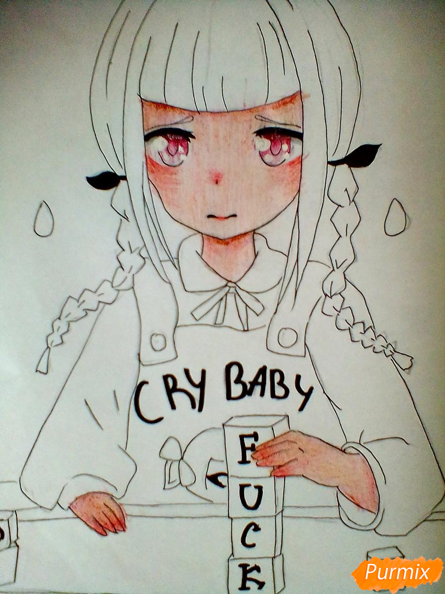 Рисуем певицу Melanie Martinez из клипа Cry Baby в аниме стиле - шаг 6