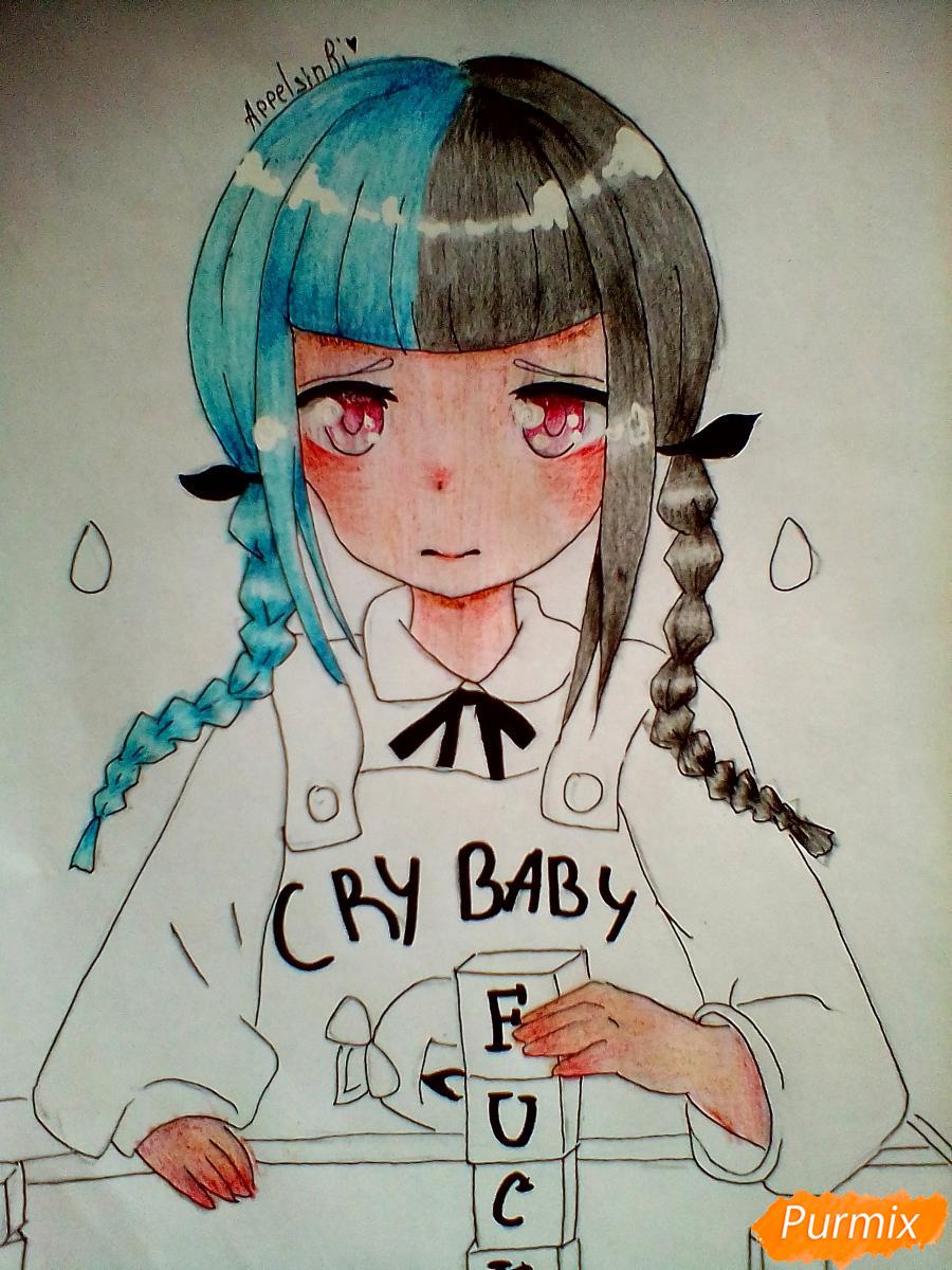 Рисуем певицу Melanie Martinez из клипа Cry Baby в аниме стиле - шаг 7
