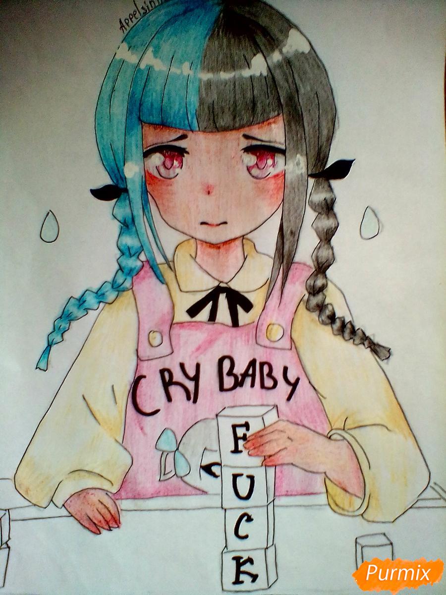 Рисуем певицу Melanie Martinez из клипа Cry Baby в аниме стиле - шаг 8
