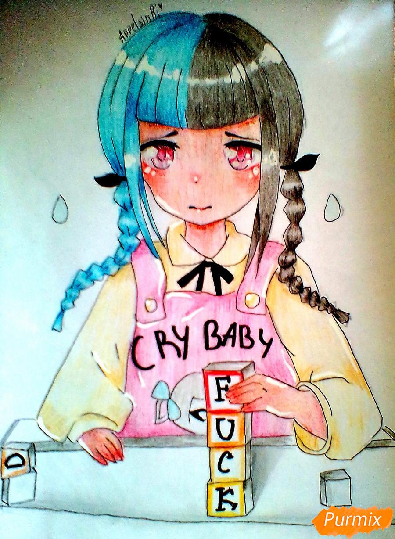 Рисуем певицу Melanie Martinez из клипа Cry Baby в аниме стиле - шаг 9