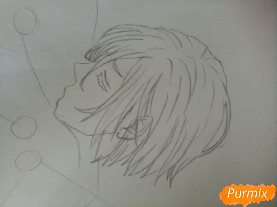 Рисуем Плисецкого и Отабека из аниме Юри на льду карандашами - шаг 2