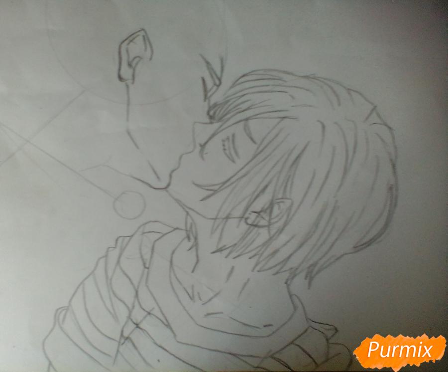 Рисуем Плисецкого и Отабека из аниме Юри на льду карандашами - шаг 3