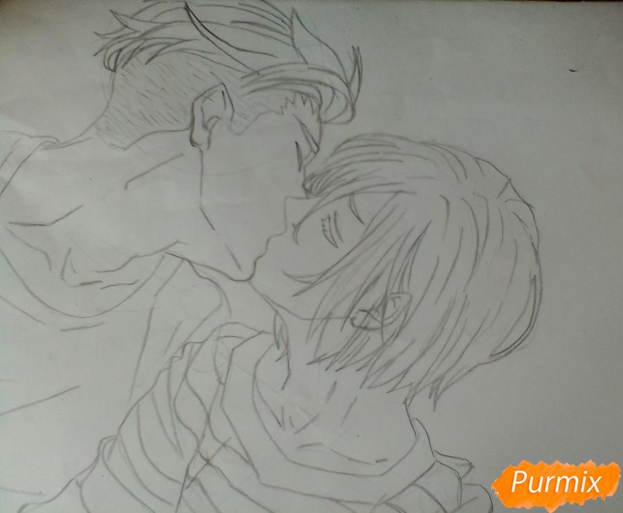 Рисуем Плисецкого и Отабека из аниме Юри на льду карандашами - шаг 4