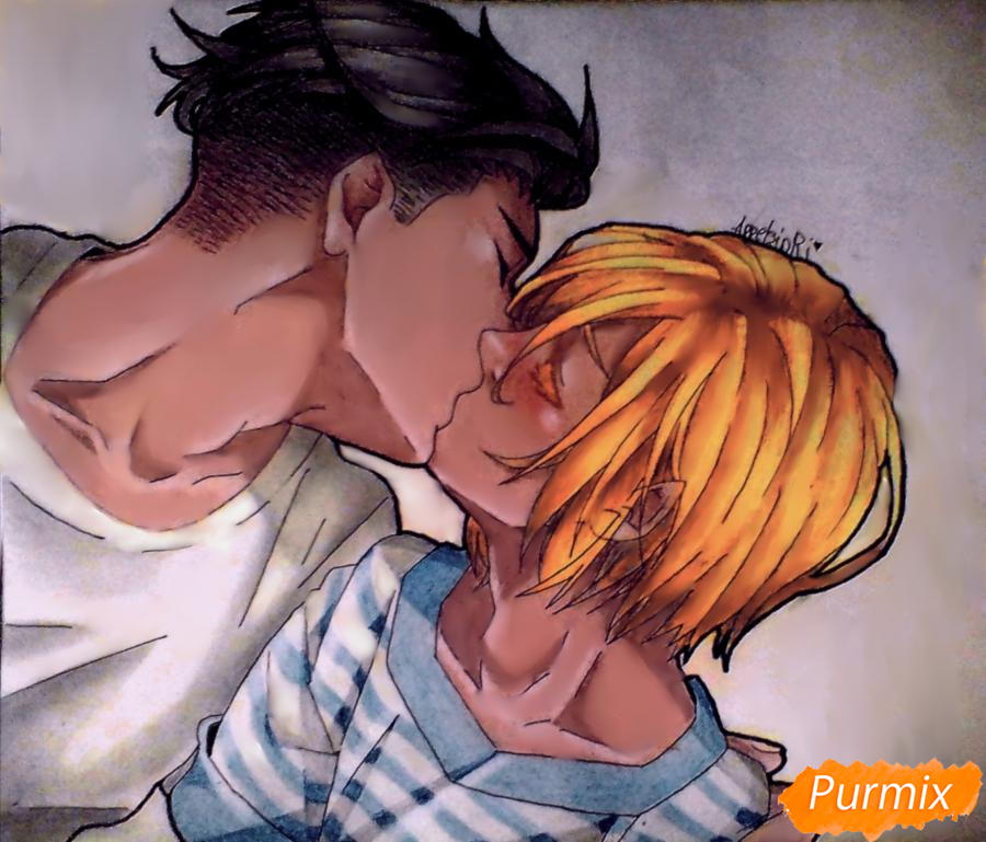 Как нарисовать Плисецкого и Отабека из аниме Юри на льду карандашами