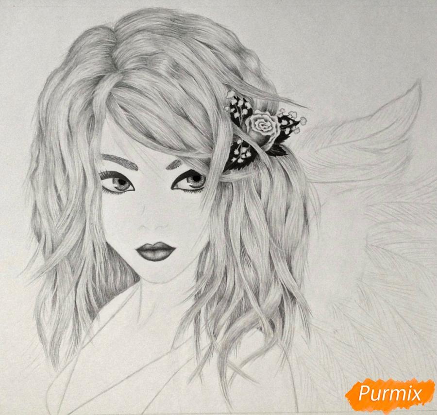 Рисуем портрет аниме девушки ангела простым - шаг 6
