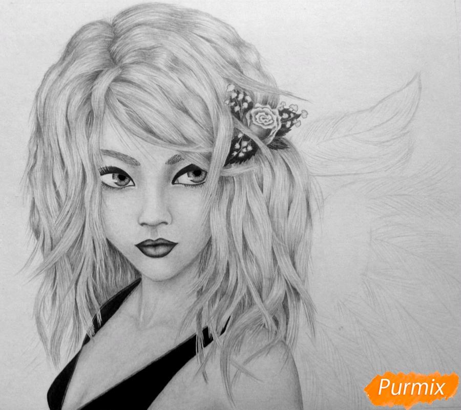 Рисуем портрет аниме девушки ангела простым - шаг 8