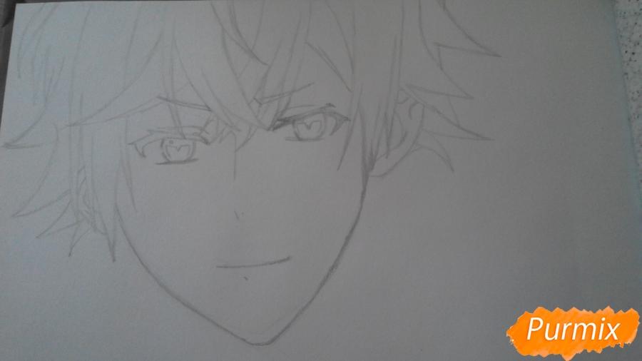Рисуем портрет Аято Сакамаки - шаг 2