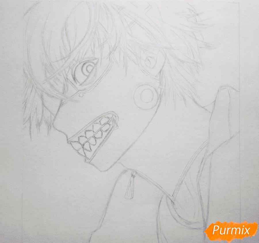 Рисуем портрет Канеки Кена из Токийский гуль - шаг 3