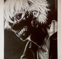 Фото портрет Канеки Кена карандашами
