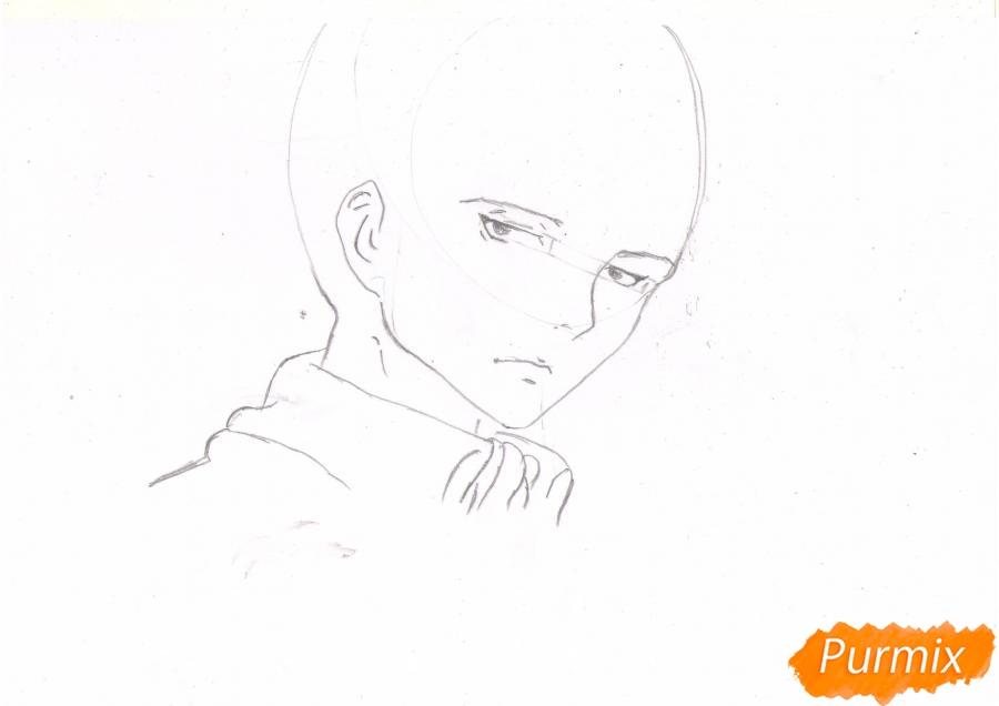Рисуем портрет Леви Капрала цветными карандашами - шаг 3