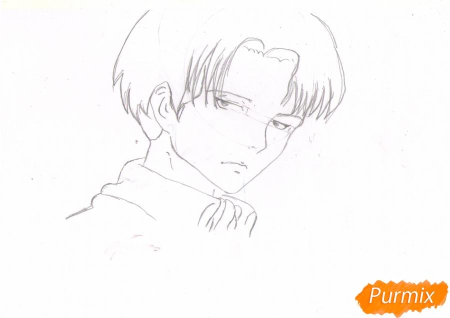 Рисуем портрет Леви Капрала цветными карандашами - шаг 4