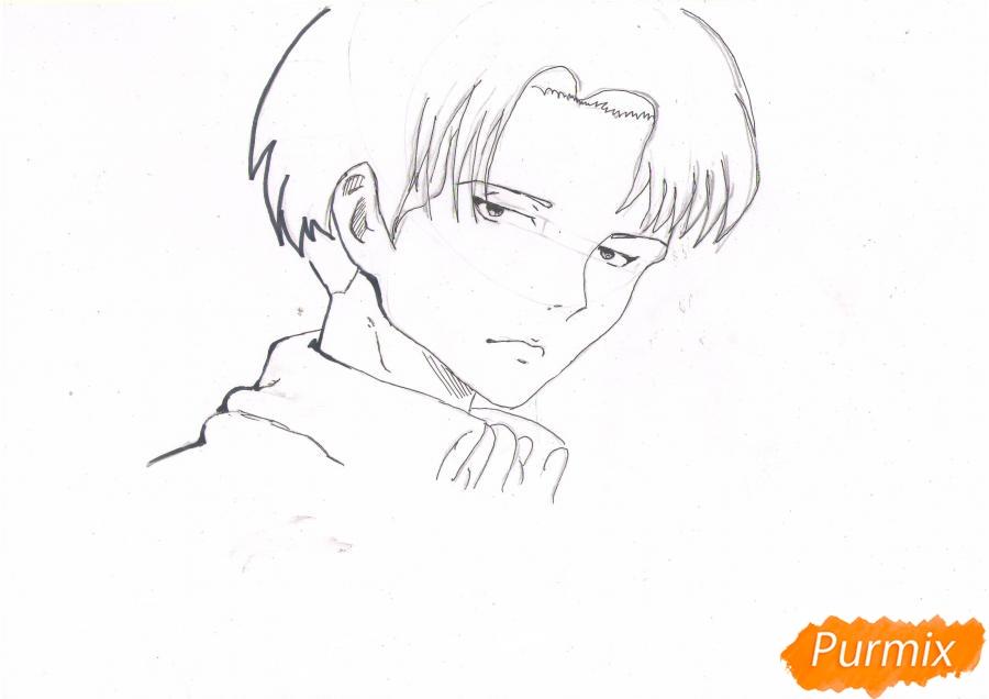 Рисуем портрет Леви Капрала цветными карандашами - шаг 5