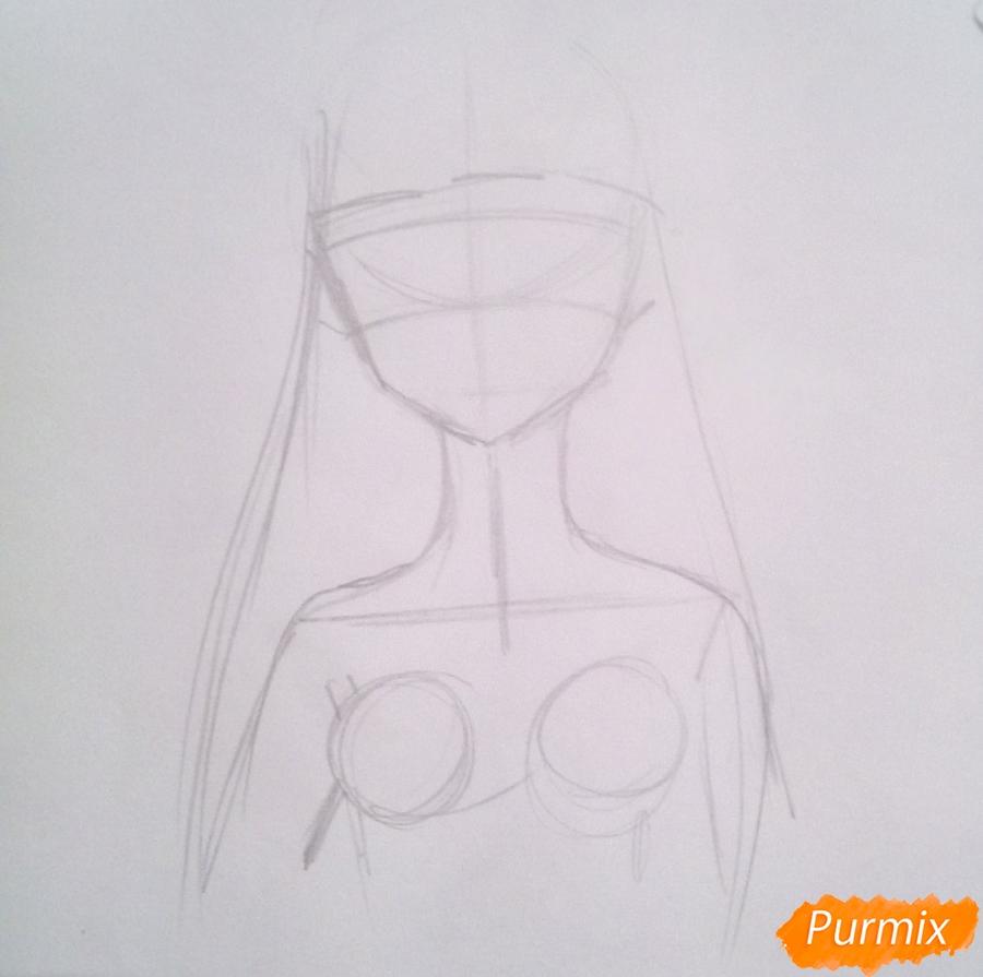 Рисуем принцессу Ревозавров из аниме Милый Во Франксе карандашами - шаг 1