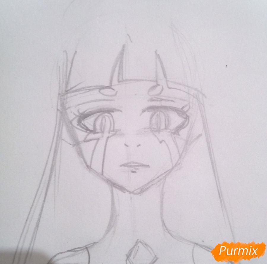 Рисуем принцессу Ревозавров из аниме Милый Во Франксе карандашами - шаг 3