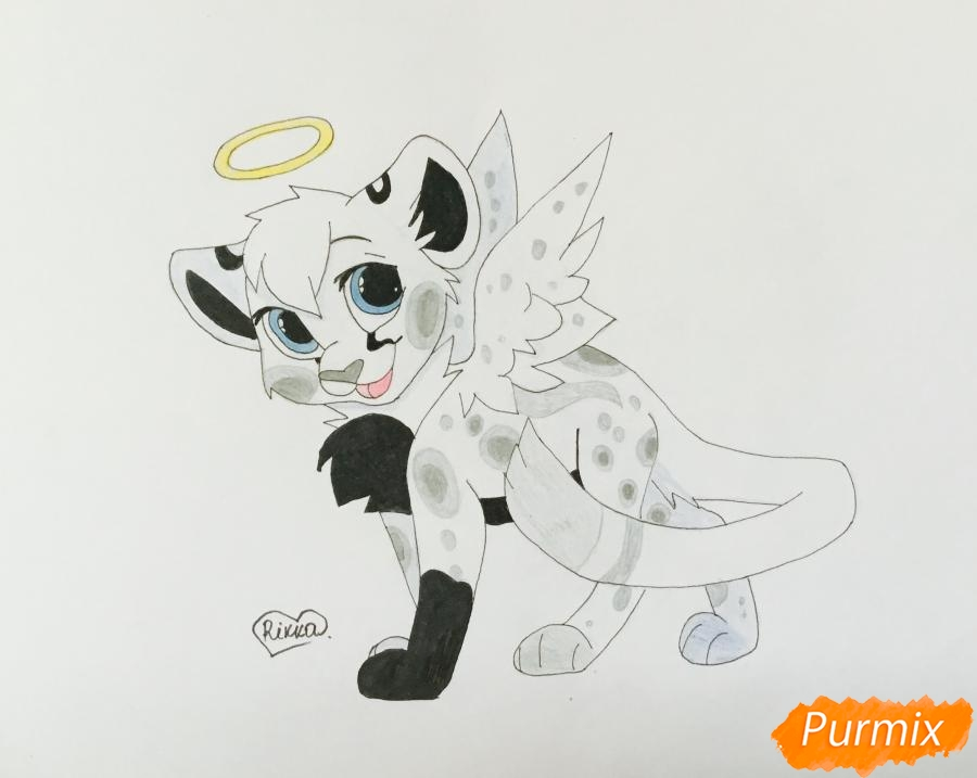 Рисуем пятнистого львёнка в образе ангела - шаг 12