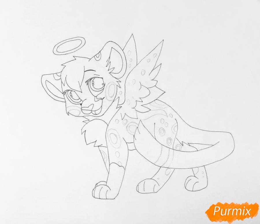 Рисуем пятнистого львёнка в образе ангела - шаг 9