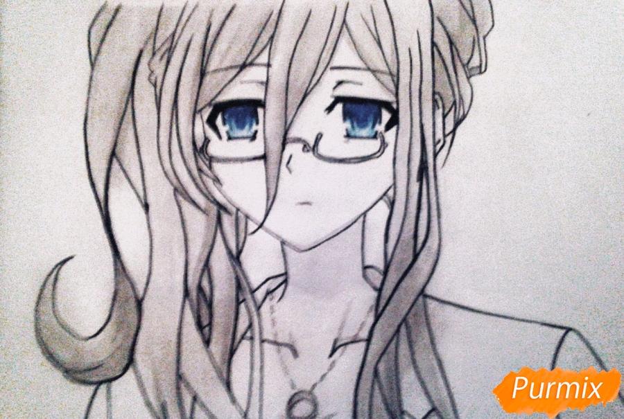Рисуем Рейне Мурасаме из аниме Рандеву с жизнью карандашами - шаг 10