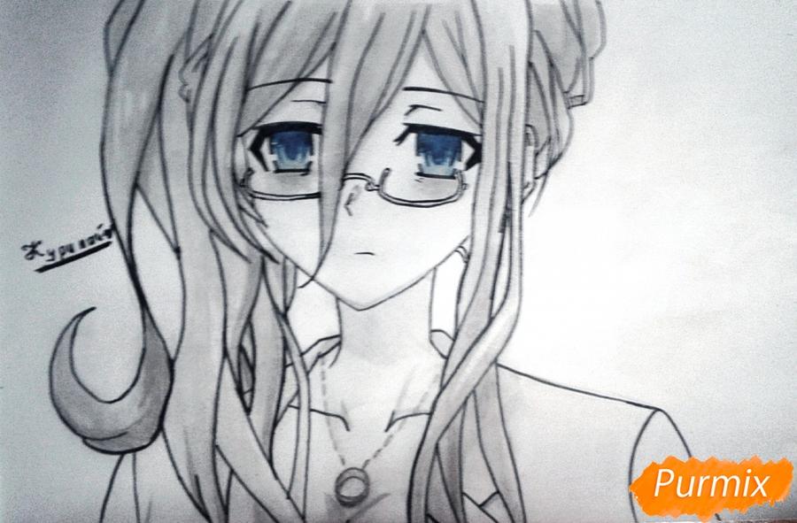 Рисуем Рейне Мурасаме из аниме Рандеву с жизнью карандашами - шаг 11