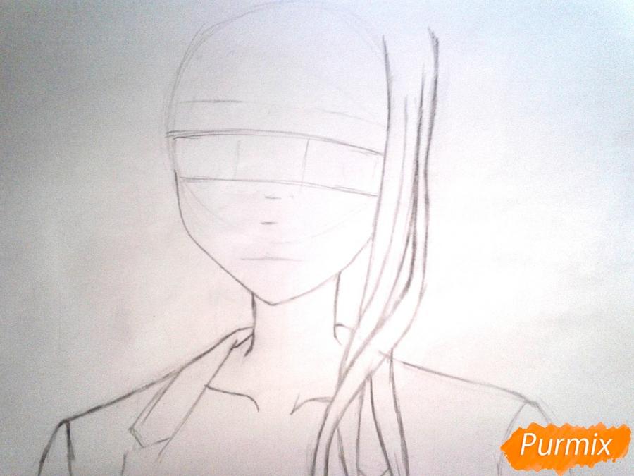 Рисуем Рейне Мурасаме из аниме Рандеву с жизнью карандашами - шаг 2