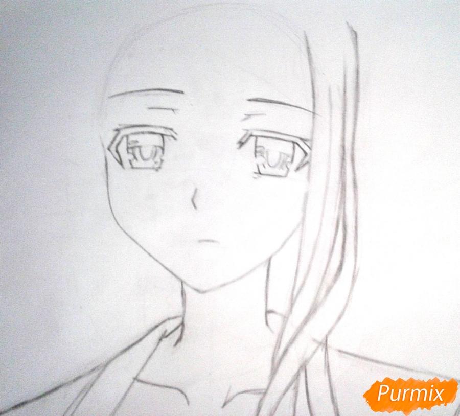 Рисуем Рейне Мурасаме из аниме Рандеву с жизнью карандашами - шаг 3