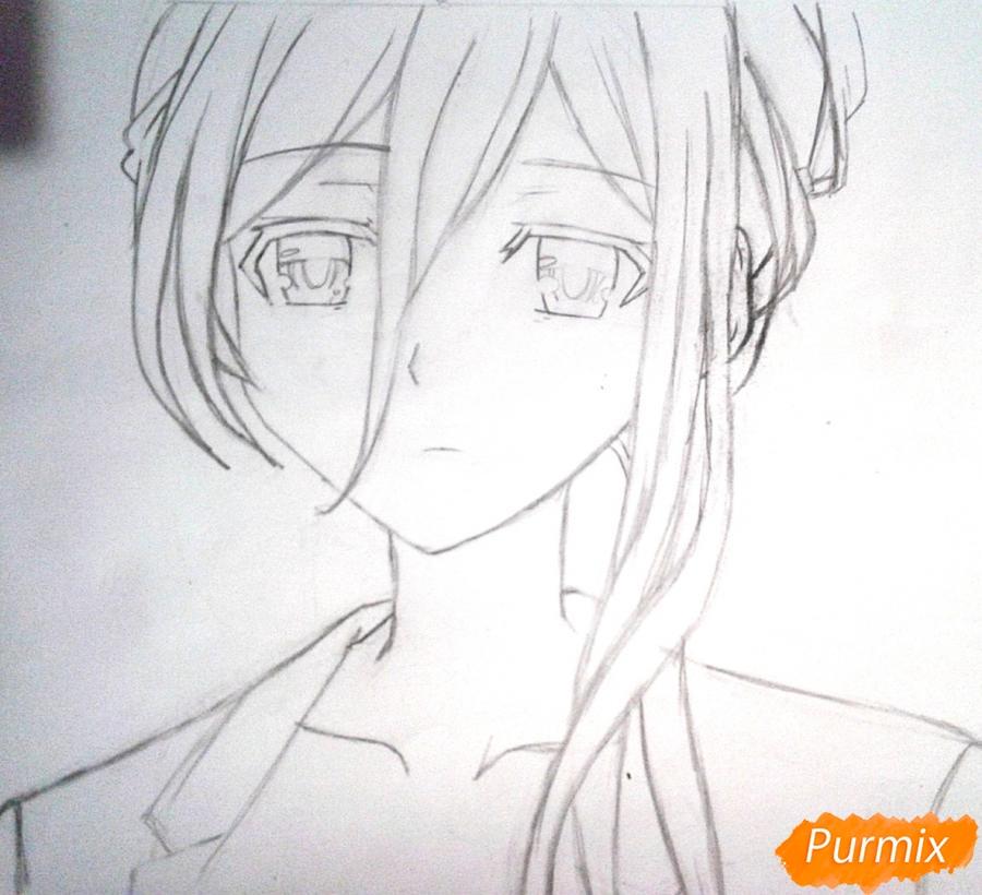 Рисуем Рейне Мурасаме из аниме Рандеву с жизнью карандашами - шаг 4