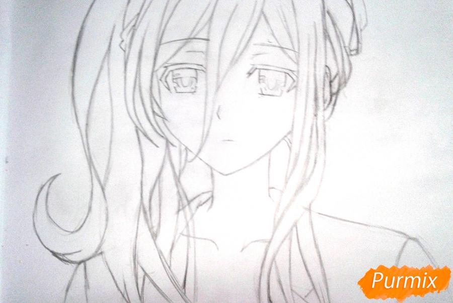 Рисуем Рейне Мурасаме из аниме Рандеву с жизнью карандашами - шаг 5