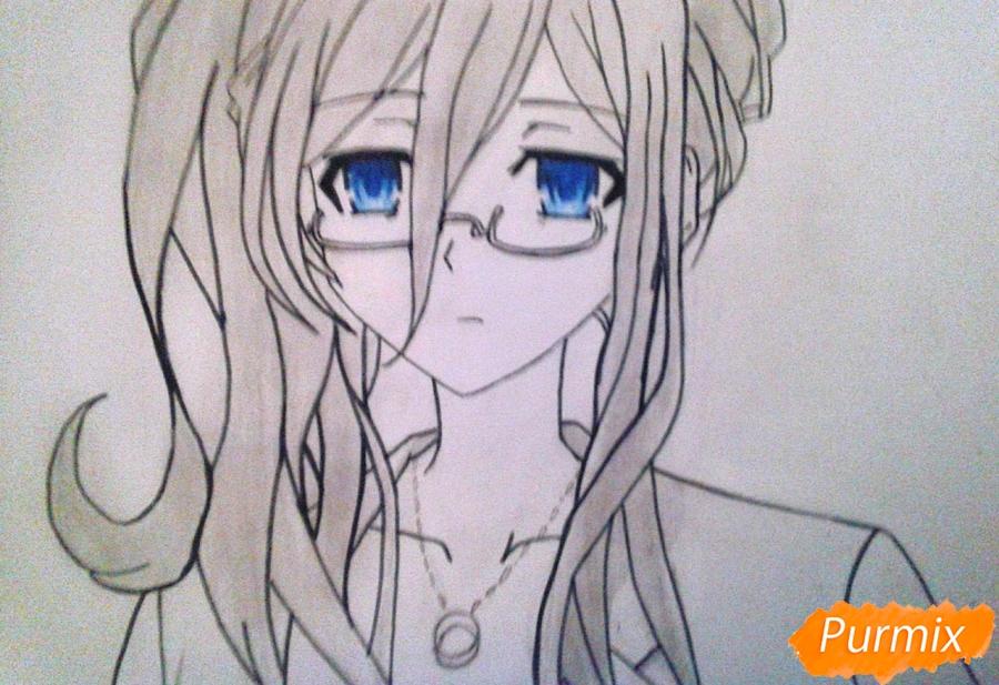 Рисуем Рейне Мурасаме из аниме Рандеву с жизнью карандашами - шаг 8