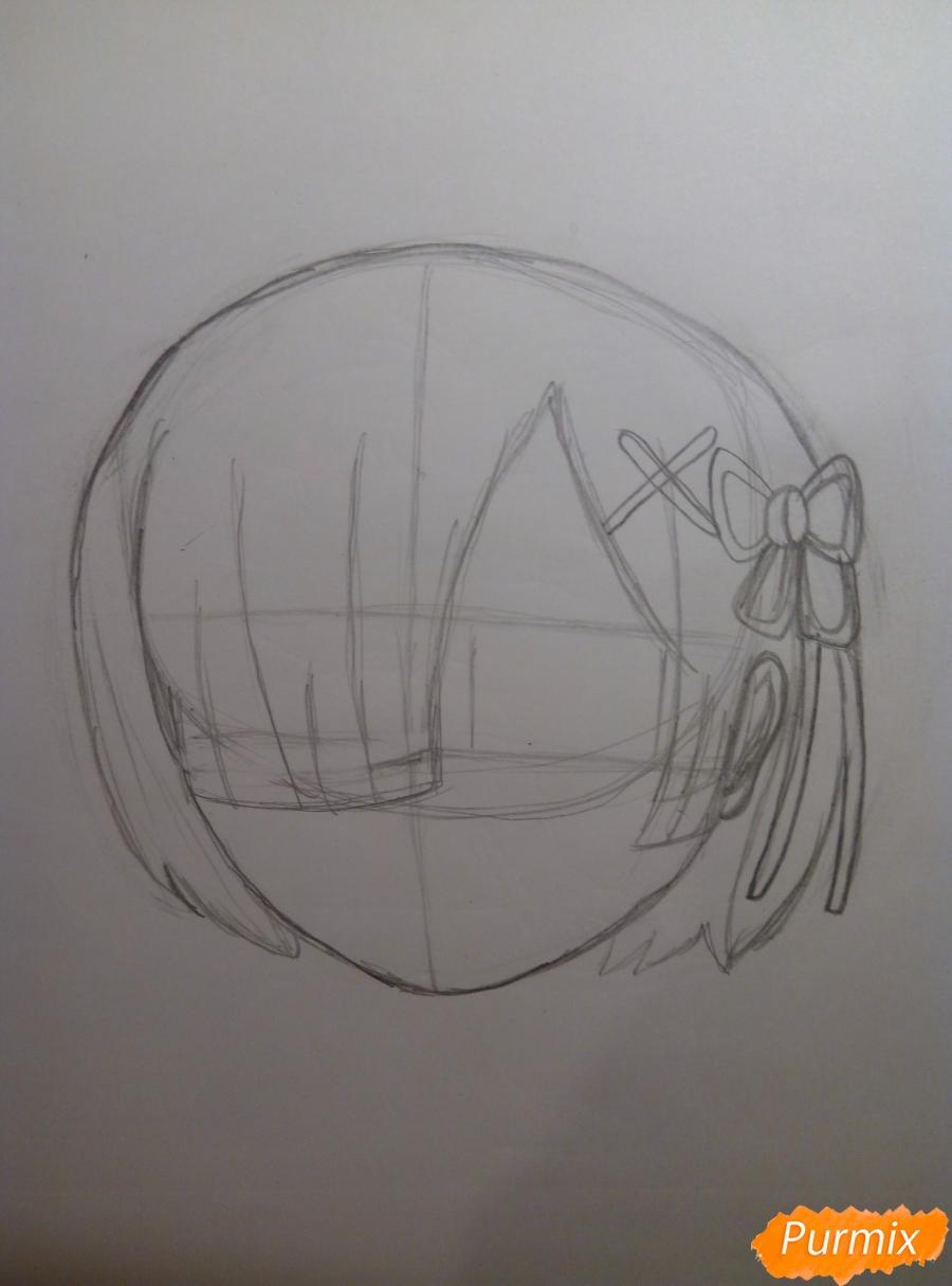 Рисуем Рем из аниме Re Zero карандашами - шаг 3