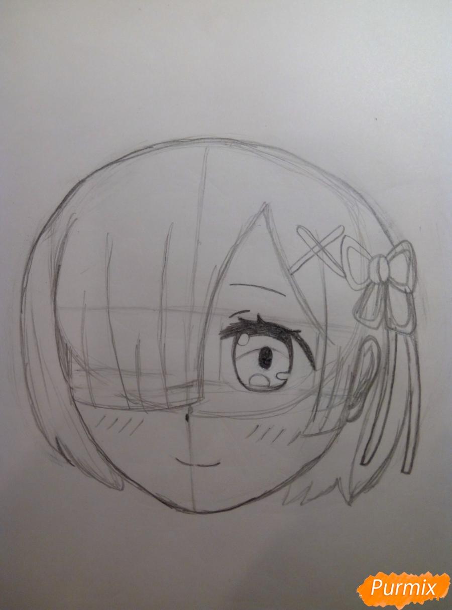 Рисуем Рем из аниме Re Zero карандашами - шаг 4
