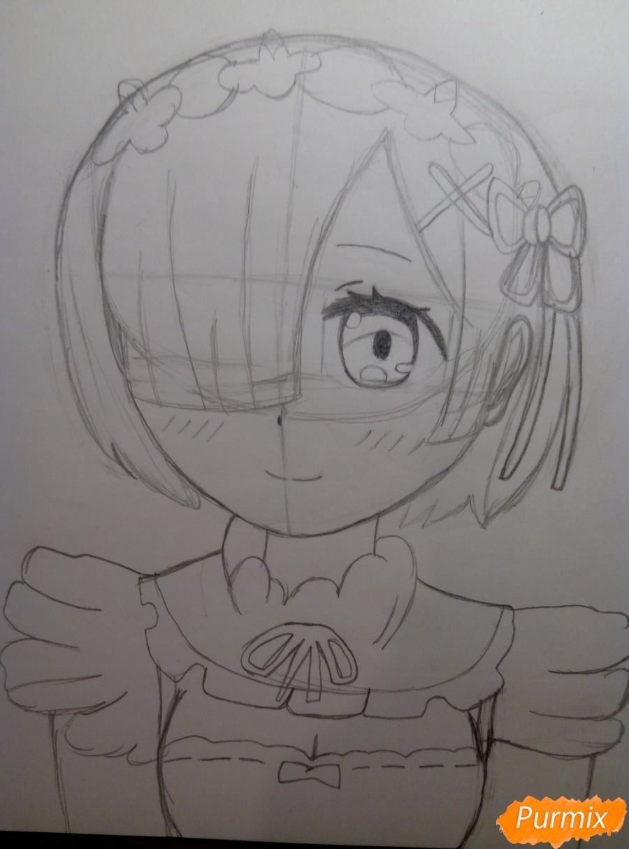 Рисуем Рем из аниме Re Zero карандашами - шаг 5