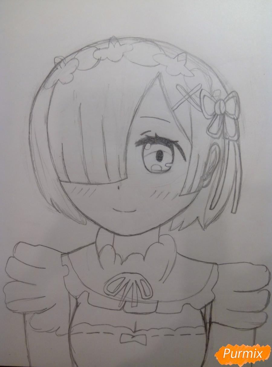 Рисуем Рем из аниме Re Zero карандашами - шаг 6