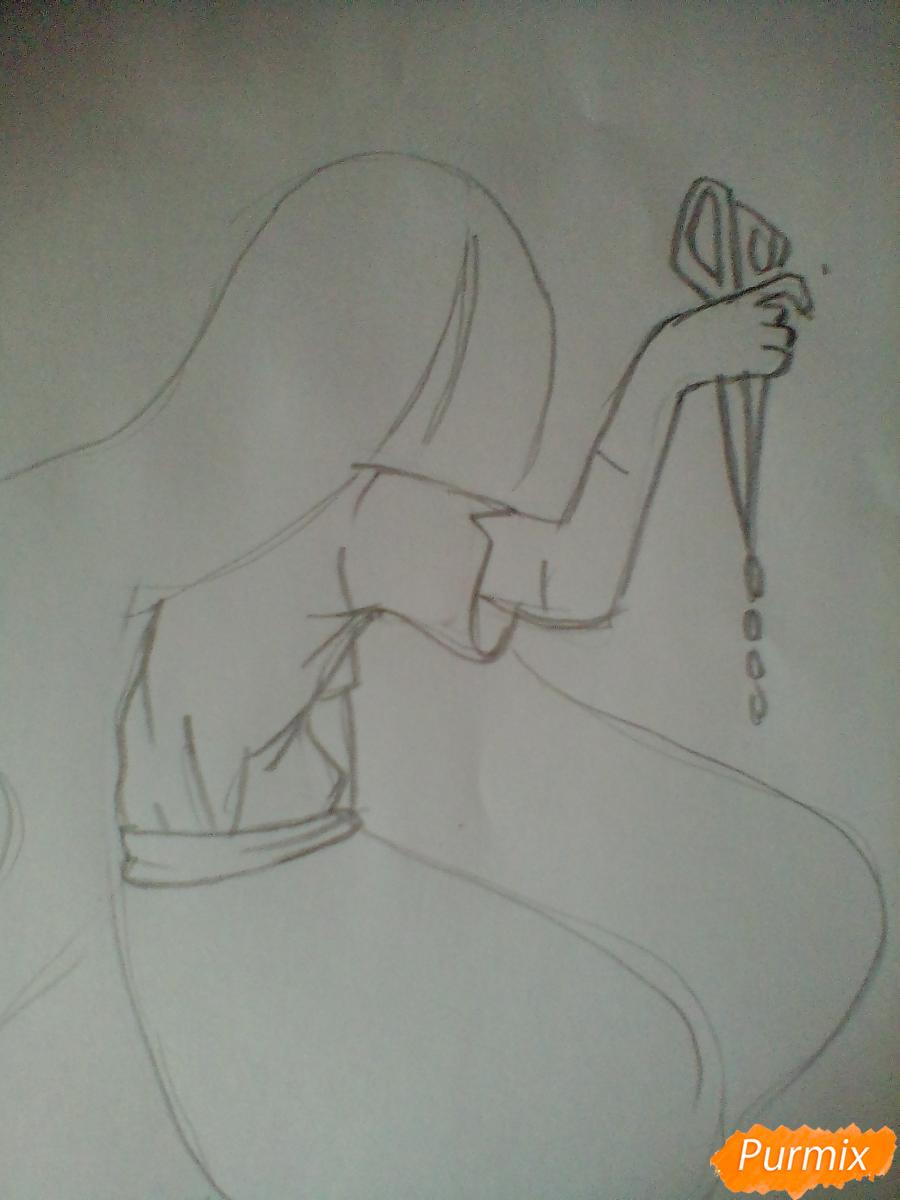 Рисуем Сачико Шинозаки из аниме Вечеринка Мёртвых - шаг 2