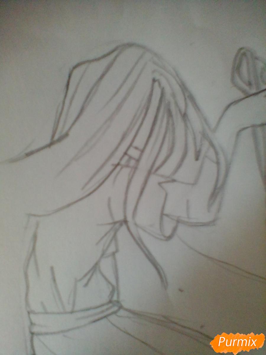 Рисуем Сачико Шинозаки из аниме Вечеринка Мёртвых - шаг 4