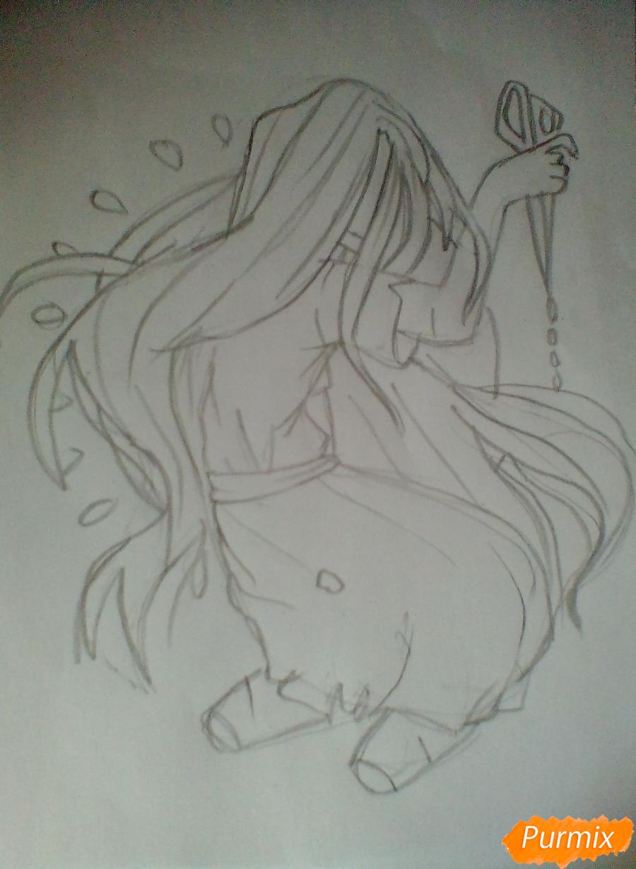 Рисуем Сачико Шинозаки из аниме Вечеринка Мёртвых - шаг 5