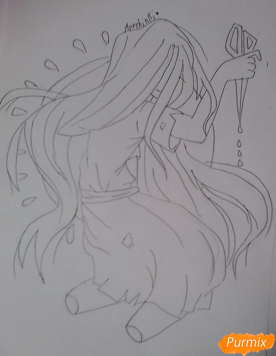 Рисуем Сачико Шинозаки из аниме Вечеринка Мёртвых - шаг 6