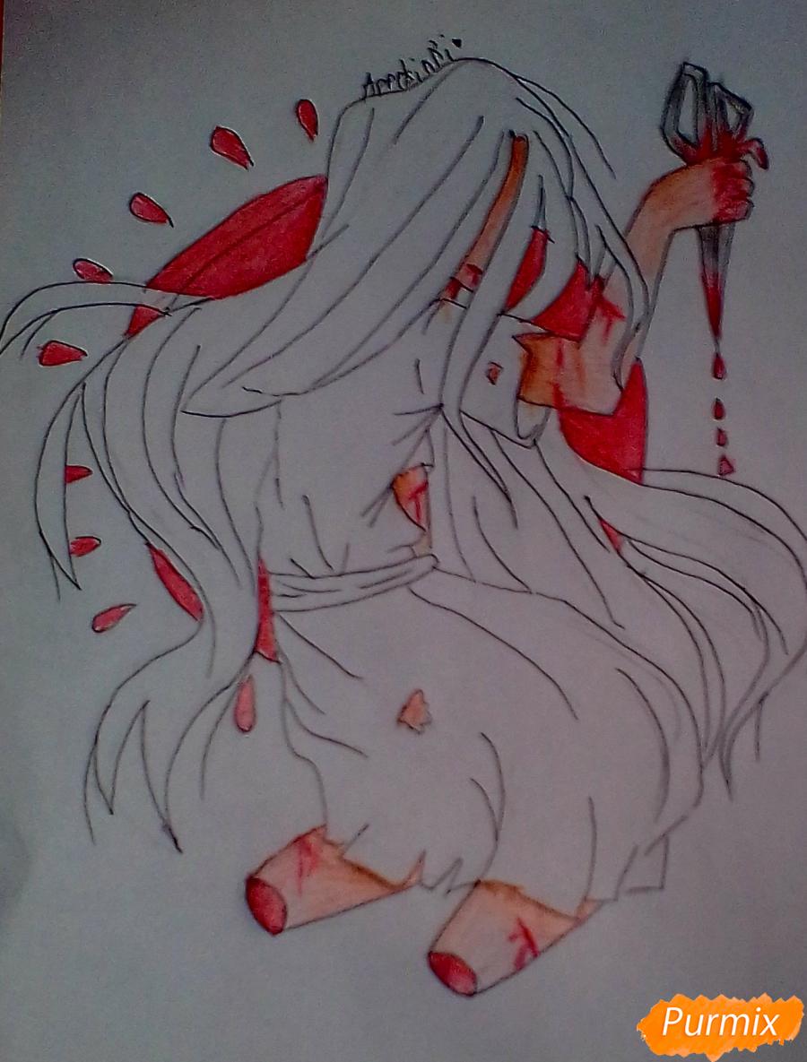 Рисуем Сачико Шинозаки из аниме Вечеринка Мёртвых - шаг 7