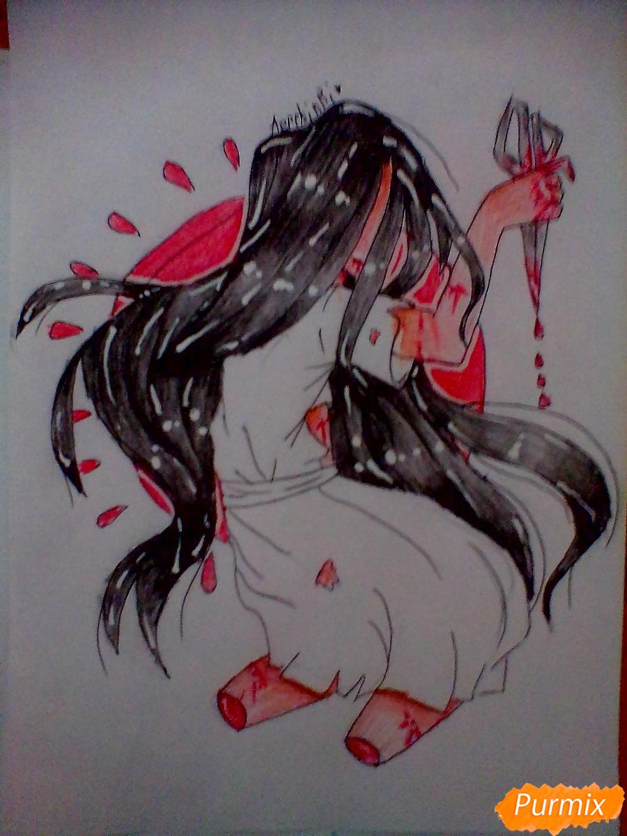 Рисуем Сачико Шинозаки из аниме Вечеринка Мёртвых - шаг 8