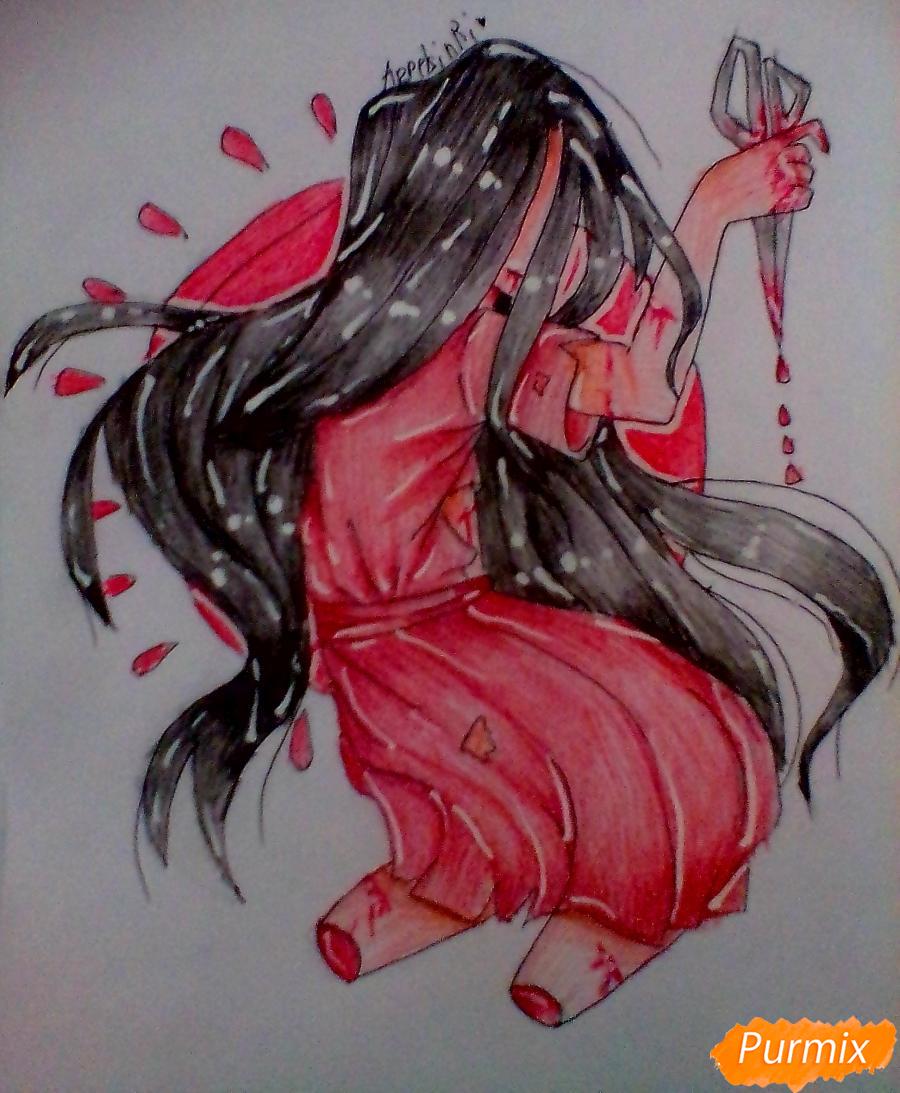 Как нарисовать Сачико Шинозаки из аниме Вечеринка Мёртвых