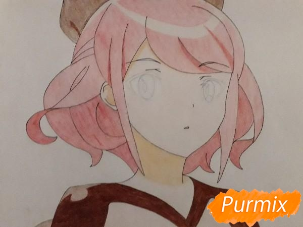 Рисуем Сацуки Усуи из аниме Плеяда семи звёзд карандашами - шаг 10