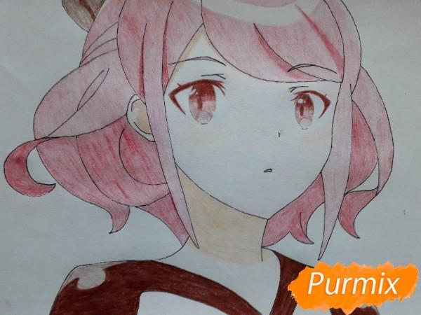 Рисуем Сацуки Усуи из аниме Плеяда семи звёзд карандашами - шаг 12